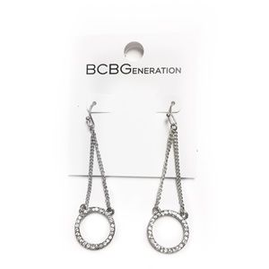 BCBGENERATION EARRINGS SILVER TONED CIRCLE CHAIN